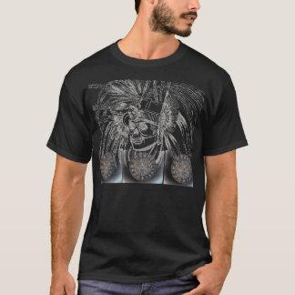 aztec/mayan skull warrior with sun dials t-shirt