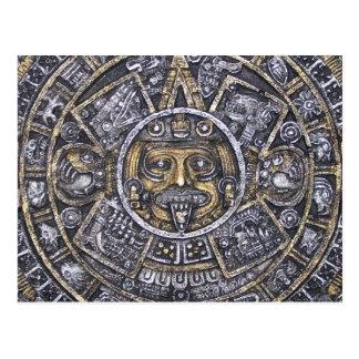 Aztec /Mayan  Sun Calendar Postcard
