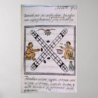 Aztec men gambling Patoli Posters