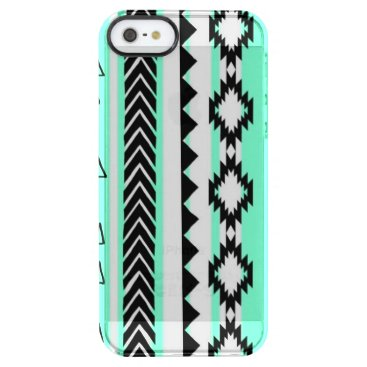 Aztec Themed Aztec Mint Green Black And White Clear Case