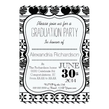 Aztec Themed Aztec modern black white pattern Graduation party Card