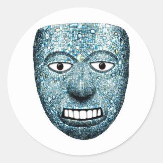 Aztec Mosaic Mask Classic Round Sticker