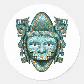 Aztec Mosaic Quetzalcoatl Mask Classic Round Sticker
