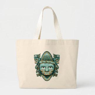 Aztec Mosaic Quetzalcoatl Mask Large Tote Bag