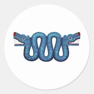 Aztec Mosaic Serpent Classic Round Sticker