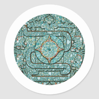 Aztec Mosaic Shield Classic Round Sticker