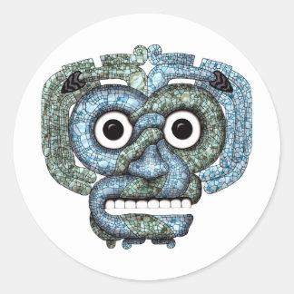 Aztec Mosaic Tlaloc Mask Classic Round Sticker