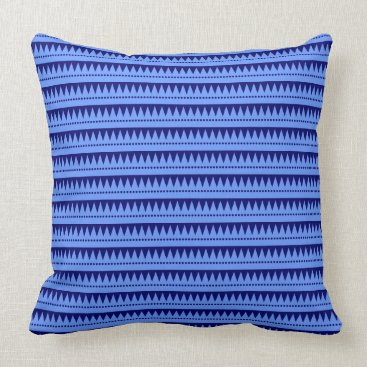 Aztec Themed Aztec Mountains - Baby Blue on Deep Navy Throw Pillow