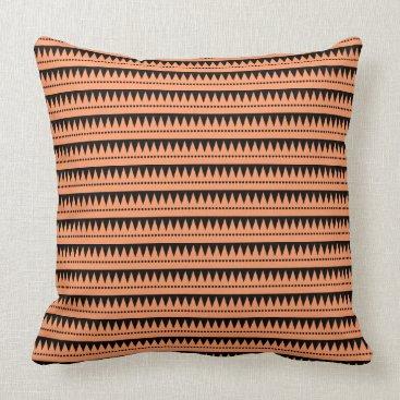 Aztec Themed Aztec Mountains - Peach on Black Throw Pillow