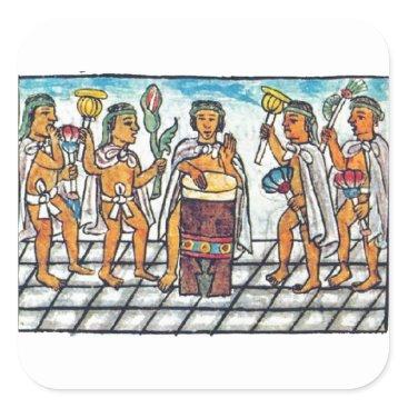 Aztec Themed Aztec Musicians Square Sticker