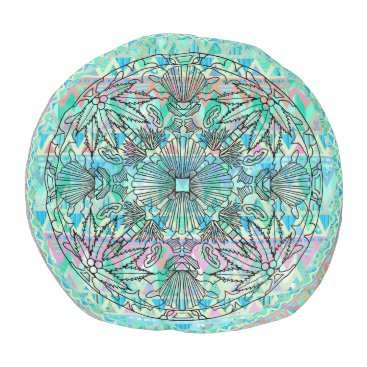 Aztec Themed Aztec Muted Pastel Mint Beach Mandala Zigzag shell Pouf