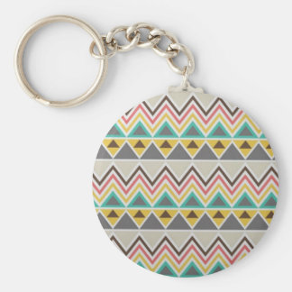Aztec Native American Tribal Zigzags Design Style Keychain