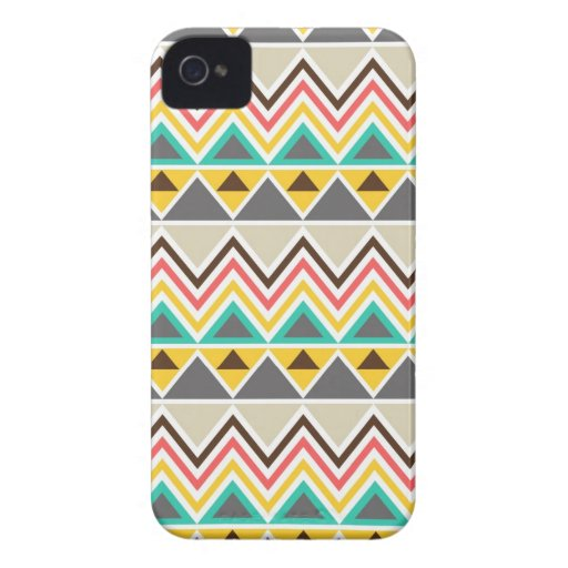 Aztec Native American Tribal ZigZags Triangles Case-Mate iPhone 4 Cases