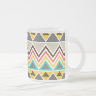 Aztec Native American Tribal ZigZags Triangles Frosted Glass Coffee Mug