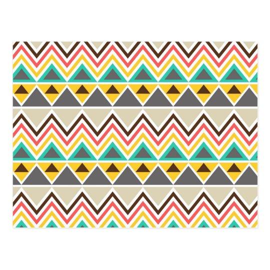 Aztec Native American Tribal ZigZags Triangles Postcard