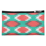 Aztec Native American Turquoise and Pink Pattern Makeup Bags