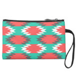 Aztec Native American Turquoise and Pink Pattern Wristlet Clutches