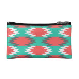 Aztec Native American Turquoise and Pink Pattern Cosmetic Bags