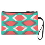 Aztec Native American Turquoise and Pink Pattern Wristlet Purse