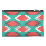 Aztec Native American Turquoise and Pink Pattern Travel Accessory Bag