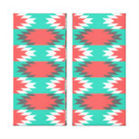 Aztec Native American Turquoise and Pink Pattern Stretched Canvas Prints