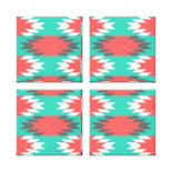 Aztec Native American Turquoise and Pink Pattern Canvas Prints