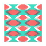 Aztec Native American Turquoise and Pink Pattern Stretched Canvas Print