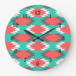 Aztec Native American Turquoise and Pink Pattern Wall Clock