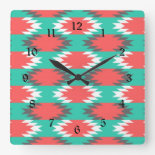Aztec Native American Turquoise and Pink Pattern Square Wallclocks