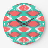 Aztec Native American Turquoise and Pink Pattern Clock
