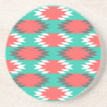 Aztec Native American Turquoise and Pink Pattern Drink Coasters