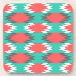 Aztec Native American Turquoise and Pink Pattern Coasters