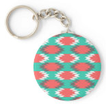 Aztec Native American Turquoise and Pink Pattern Keychains