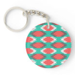 Aztec Native American Turquoise and Pink Pattern Acrylic Key Chain