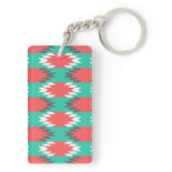 Aztec Native American Turquoise and Pink Pattern Acrylic Key Chains