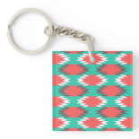 Aztec Native American Turquoise and Pink Pattern Acrylic Keychains