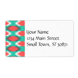 Aztec Native American Turquoise and Pink Pattern Custom Shipping Label