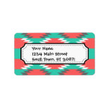 Aztec Native American Turquoise and Pink Pattern Personalized Address Label