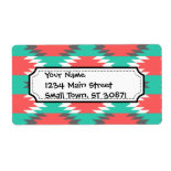 Aztec Native American Turquoise and Pink Pattern Custom Shipping Labels