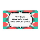 Aztec Native American Turquoise and Pink Pattern Personalized Shipping Labels