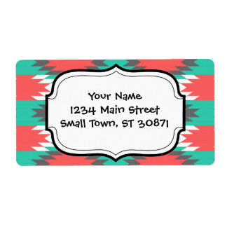 Aztec Native American Turquoise and Pink Pattern Label