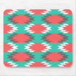 Aztec Native American Turquoise and Pink Pattern Mouse Pads