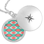 Aztec Native American Turquoise and Pink Pattern Locket