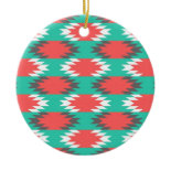 Aztec Native American Turquoise and Pink Pattern Christmas Ornament