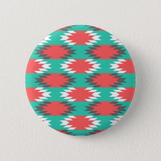 Aztec Native American Turquoise and Pink Pattern Pinback Button