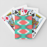Aztec Native American Turquoise and Pink Pattern Bicycle Poker Deck