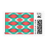 Aztec Native American Turquoise and Pink Pattern Postage Stamp
