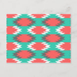 Aztec Native American Turquoise and Pink Pattern Postcard