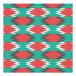 Aztec Native American Turquoise and Pink Pattern Poster