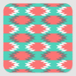 Aztec Native American Turquoise and Pink Pattern Square Sticker